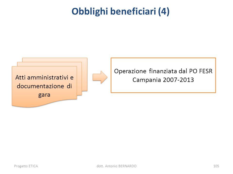 Obblighi beneficiari (4) Operazione finanziata dal PO FESR Campania 2007-2013 Atti amministrativi e documentazione di gara Progetto ETICAdott. Antonio