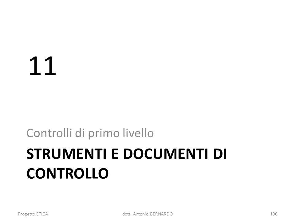 STRUMENTI E DOCUMENTI DI CONTROLLO Controlli di primo livello 11 Progetto ETICA106dott. Antonio BERNARDO
