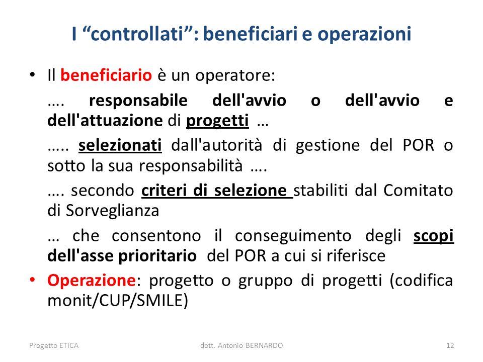 I controllati: beneficiari e operazioni Il beneficiario è un operatore: …. responsabile dell'avvio o dell'avvio e dell'attuazione di progetti … ….. se