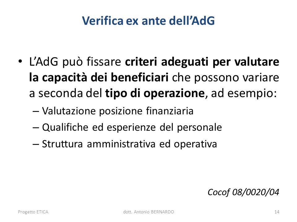 Verifica ex ante dellAdG LAdG può fissare criteri adeguati per valutare la capacità dei beneficiari che possono variare a seconda del tipo di operazio