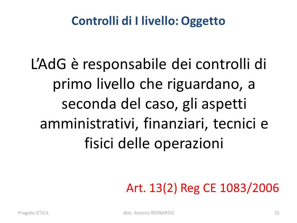 Controlli di I livello: Oggetto LAdG è responsabile dei controlli di primo livello che riguardano, a seconda del caso, gli aspetti amministrativi, fin