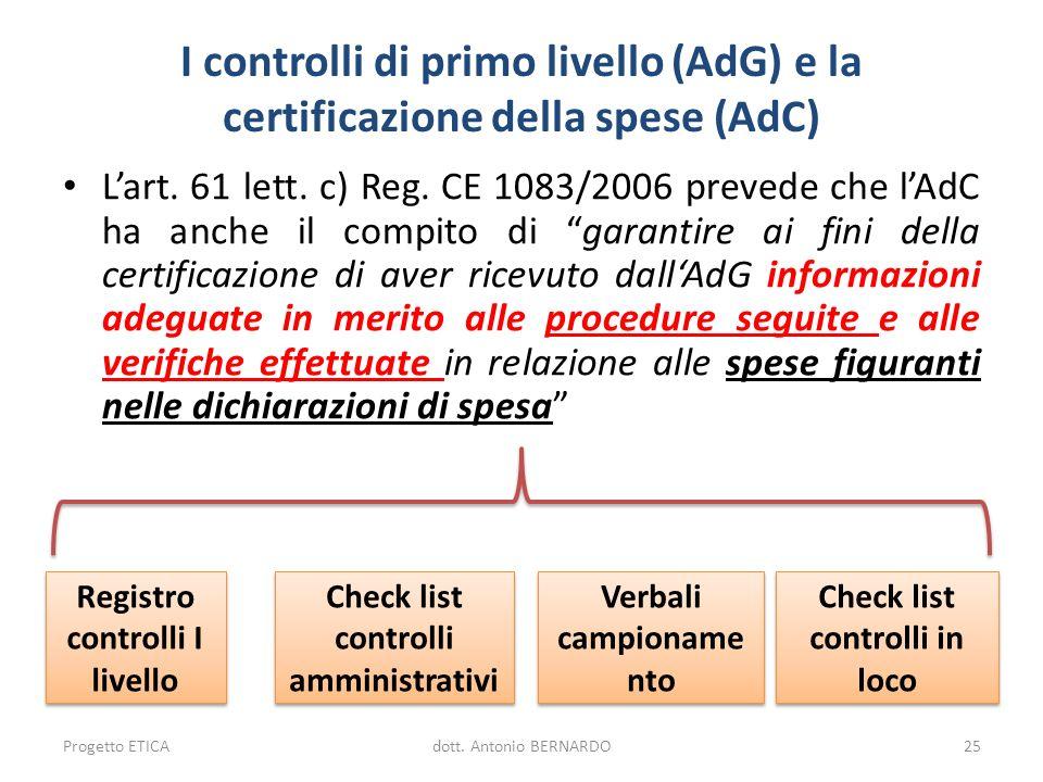 I controlli di primo livello (AdG) e la certificazione della spese (AdC) Lart. 61 lett. c) Reg. CE 1083/2006 prevede che lAdC ha anche il compito di g