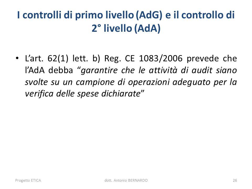 I controlli di primo livello (AdG) e il controllo di 2° livello (AdA) Lart. 62(1) lett. b) Reg. CE 1083/2006 prevede che lAdA debba garantire che le a