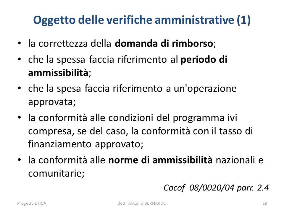 Oggetto delle verifiche amministrative (1) la correttezza della domanda di rimborso; che la spessa faccia riferimento al periodo di ammissibilità; che