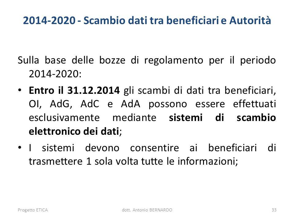 2014-2020 - Scambio dati tra beneficiari e Autorità Sulla base delle bozze di regolamento per il periodo 2014-2020: Entro il 31.12.2014 gli scambi di