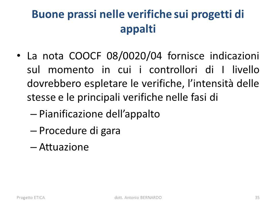 Buone prassi nelle verifiche sui progetti di appalti La nota COOCF 08/0020/04 fornisce indicazioni sul momento in cui i controllori di I livello dovre