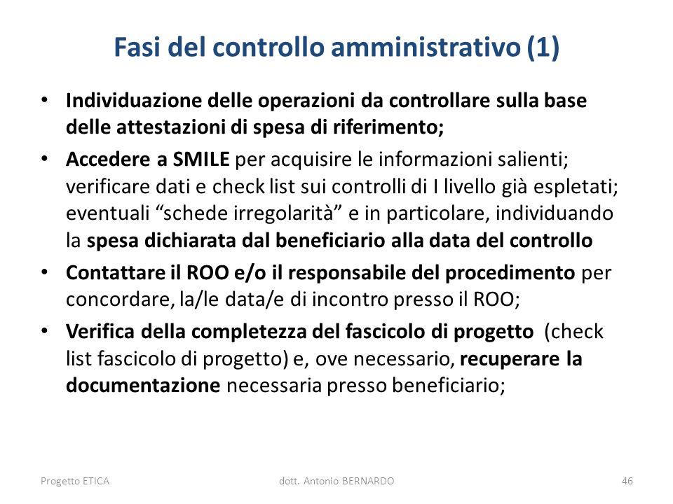 Fasi del controllo amministrativo (1) Individuazione delle operazioni da controllare sulla base delle attestazioni di spesa di riferimento; Accedere a
