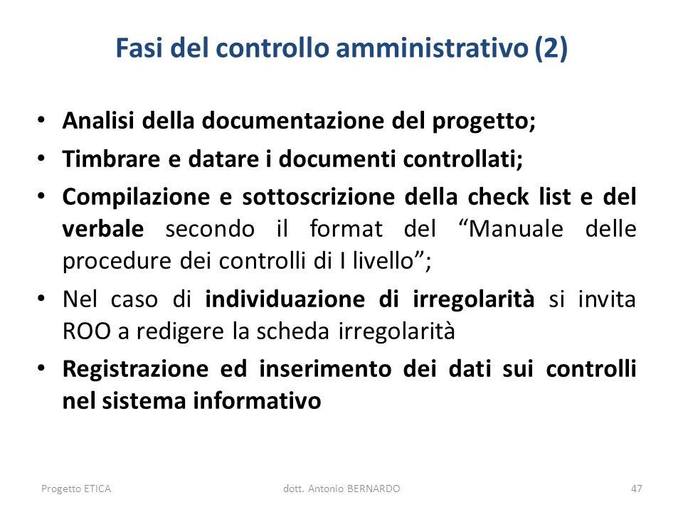 Fasi del controllo amministrativo (2) Analisi della documentazione del progetto; Timbrare e datare i documenti controllati; Compilazione e sottoscrizi
