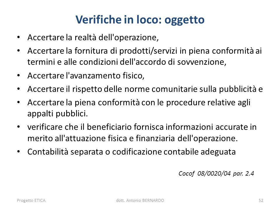 Verifiche in loco: oggetto Accertare la realtà dell'operazione, Accertare la fornitura di prodotti/servizi in piena conformità ai termini e alle condi