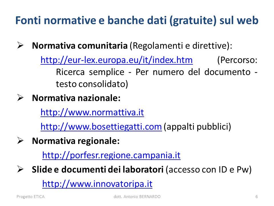 Fonti normative e banche dati (gratuite) sul web Normativa comunitaria (Regolamenti e direttive): http://eur-lex.europa.eu/it/index.htmhttp://eur-lex.