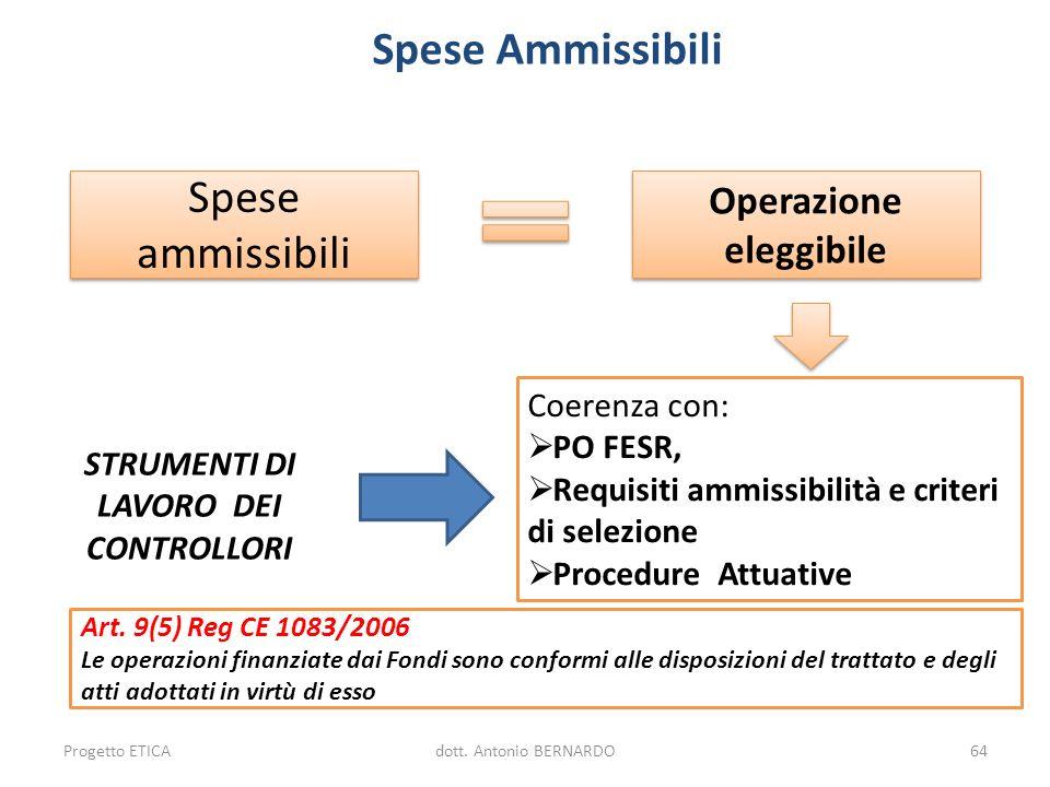 Spese Ammissibili Spese ammissibili Operazione eleggibile Coerenza con: PO FESR, Requisiti ammissibilità e criteri di selezione Procedure Attuative Pr