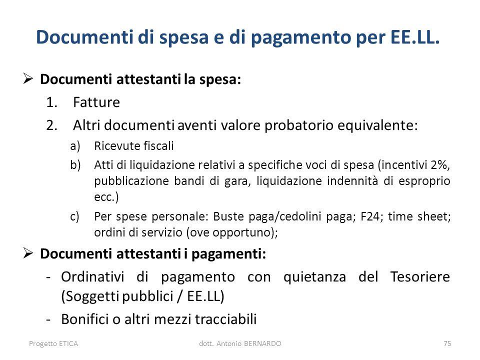 Documenti di spesa e di pagamento per EE.LL. Documenti attestanti la spesa: 1.Fatture 2.Altri documenti aventi valore probatorio equivalente: a)Ricevu