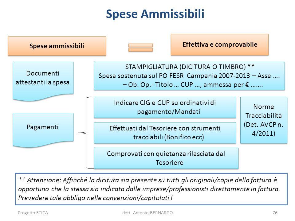Spese ammissibili Effettiva e comprovabile Documenti attestanti la spesa Pagamenti STAMPIGLIATURA (DICITURA O TIMBRO) ** Spesa sostenuta sul PO FESR C