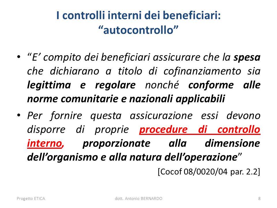 I controlli interni dei beneficiari: autocontrollo E compito dei beneficiari assicurare che la spesa che dichiarano a titolo di cofinanziamento sia le