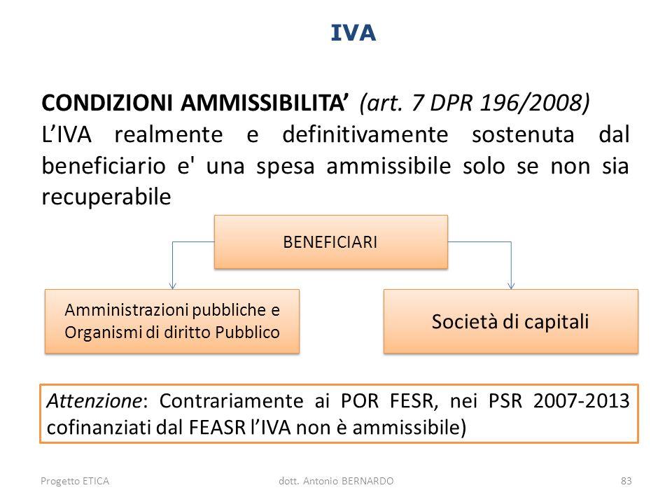 IVA Amministrazioni pubbliche e Organismi di diritto Pubblico Società di capitali CONDIZIONI AMMISSIBILITA (art. 7 DPR 196/2008) LIVA realmente e defi