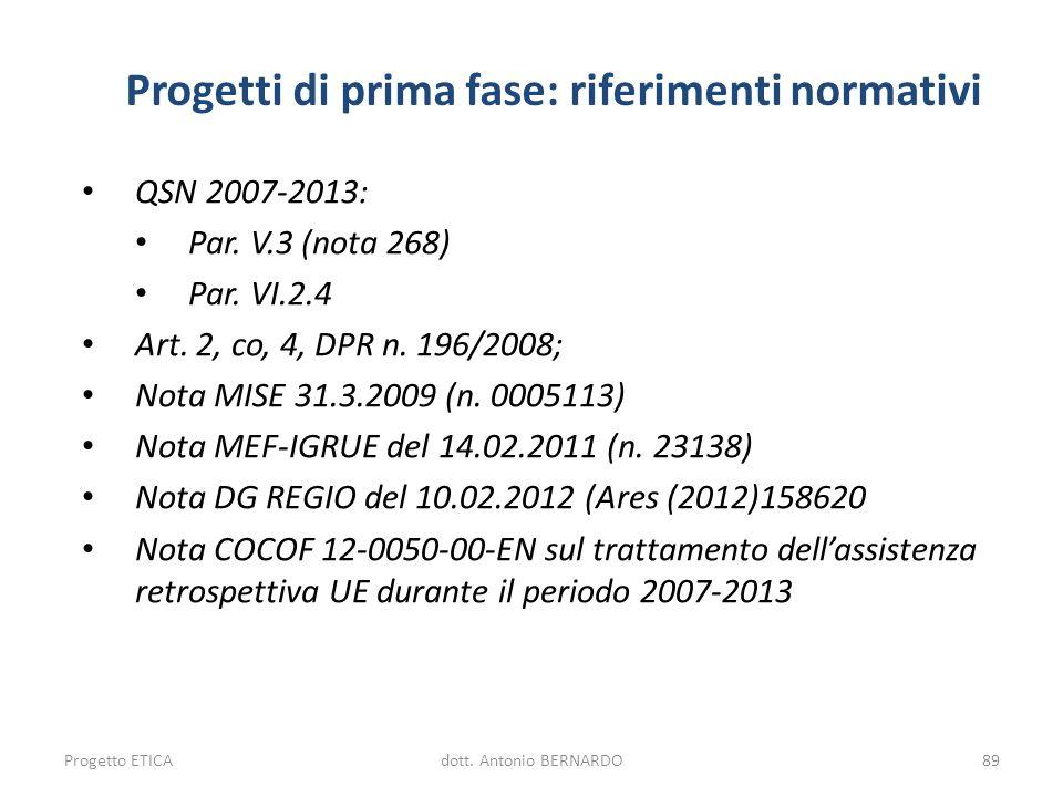 Progetti di prima fase: riferimenti normativi QSN 2007-2013: Par. V.3 (nota 268) Par. VI.2.4 Art. 2, co, 4, DPR n. 196/2008; Nota MISE 31.3.2009 (n. 0
