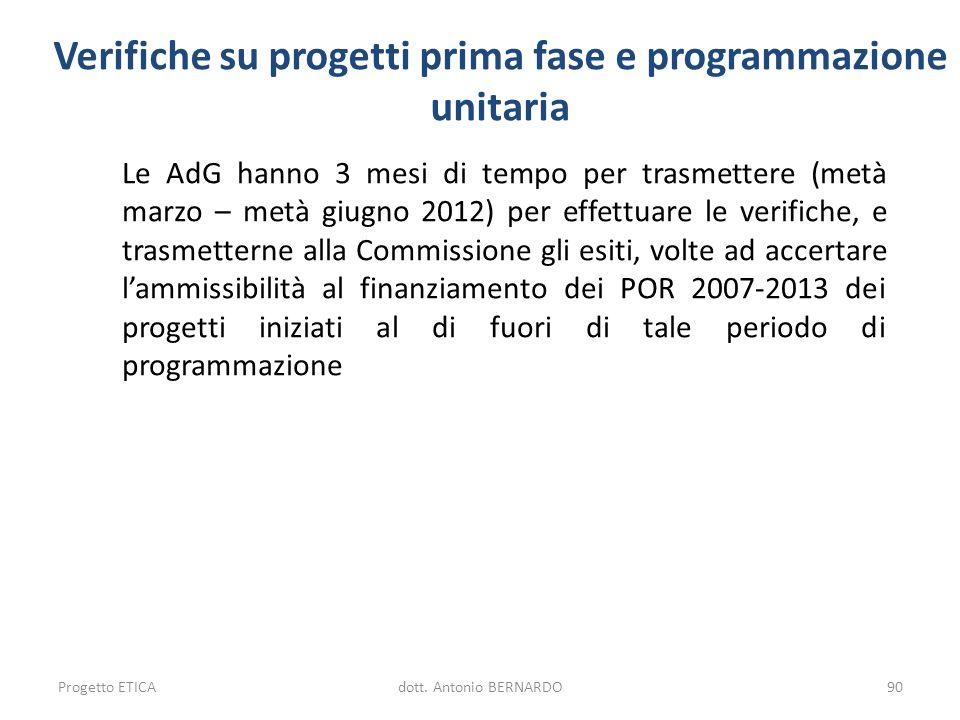 Verifiche su progetti prima fase e programmazione unitaria Le AdG hanno 3 mesi di tempo per trasmettere (metà marzo – metà giugno 2012) per effettuare