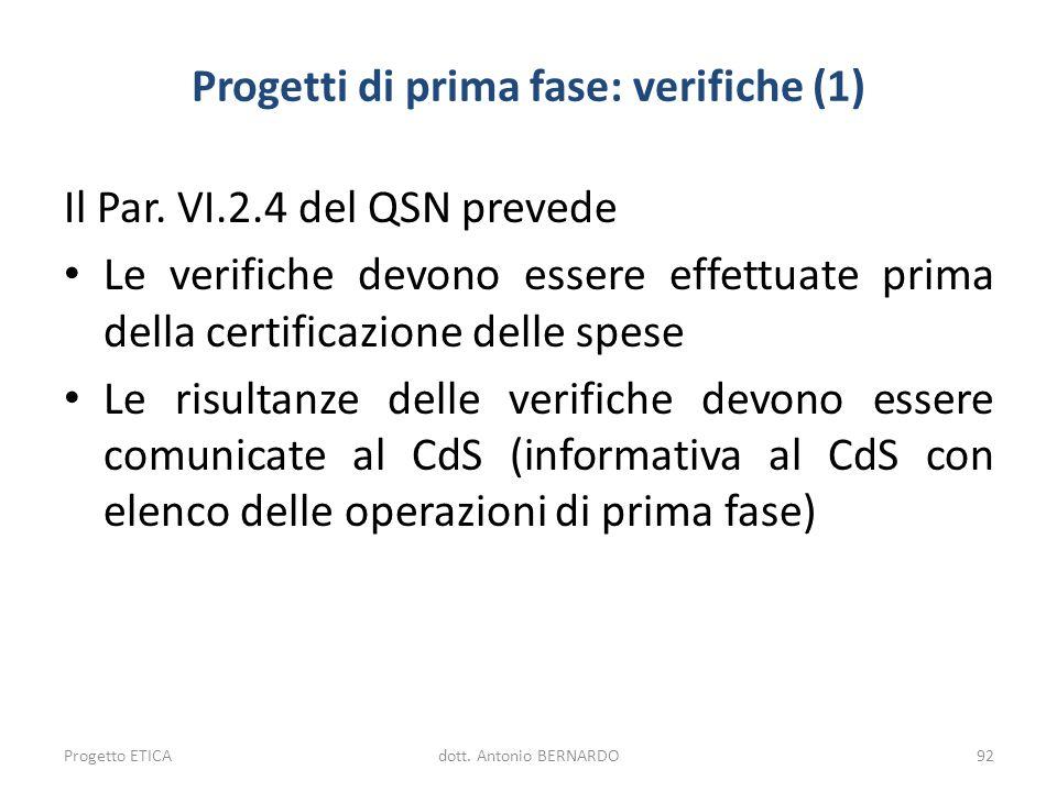 Progetti di prima fase: verifiche (1) Il Par. VI.2.4 del QSN prevede Le verifiche devono essere effettuate prima della certificazione delle spese Le r