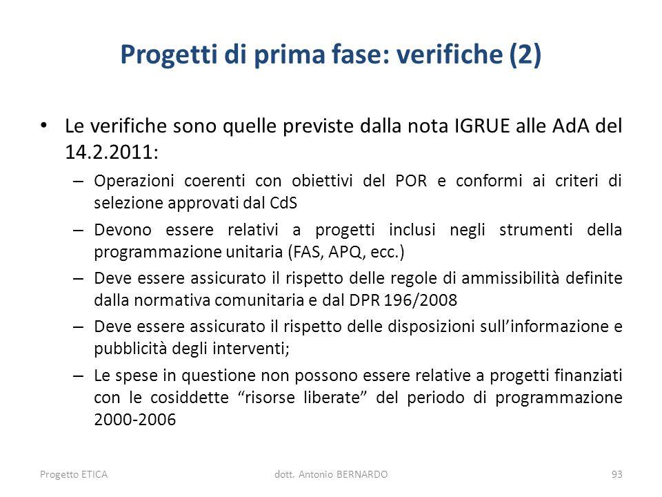 Progetti di prima fase: verifiche (2) Le verifiche sono quelle previste dalla nota IGRUE alle AdA del 14.2.2011: – Operazioni coerenti con obiettivi d