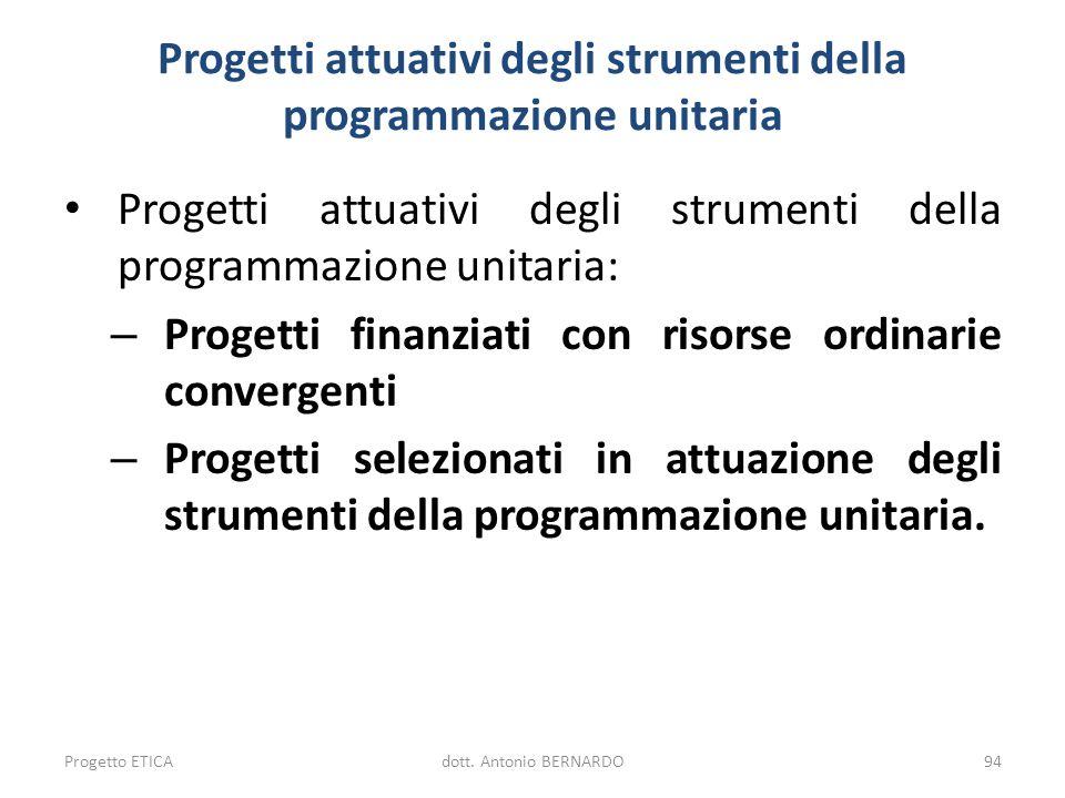 Progetti attuativi degli strumenti della programmazione unitaria Progetti attuativi degli strumenti della programmazione unitaria: – Progetti finanzia