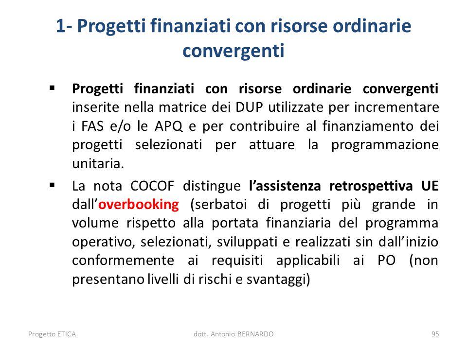 1- Progetti finanziati con risorse ordinarie convergenti Progetti finanziati con risorse ordinarie convergenti inserite nella matrice dei DUP utilizza