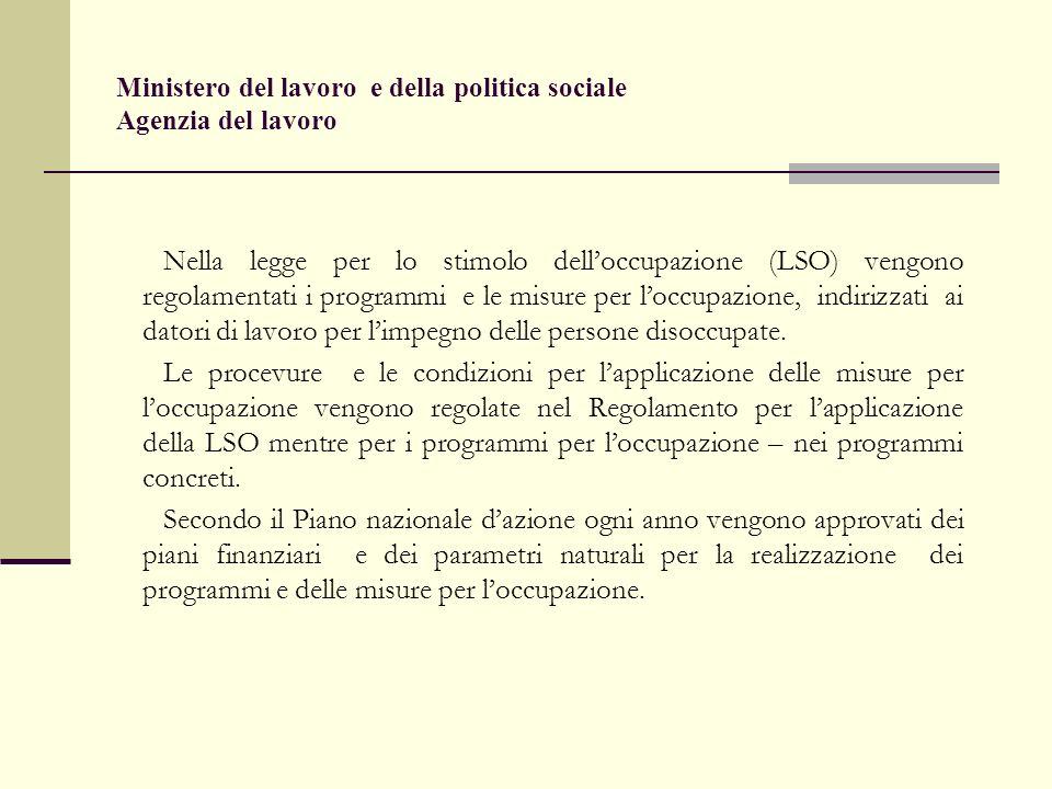 Ministero del lavoro e della politica sociale Agenzia del lavoro disoccupati oltre ai 50 anni / art.