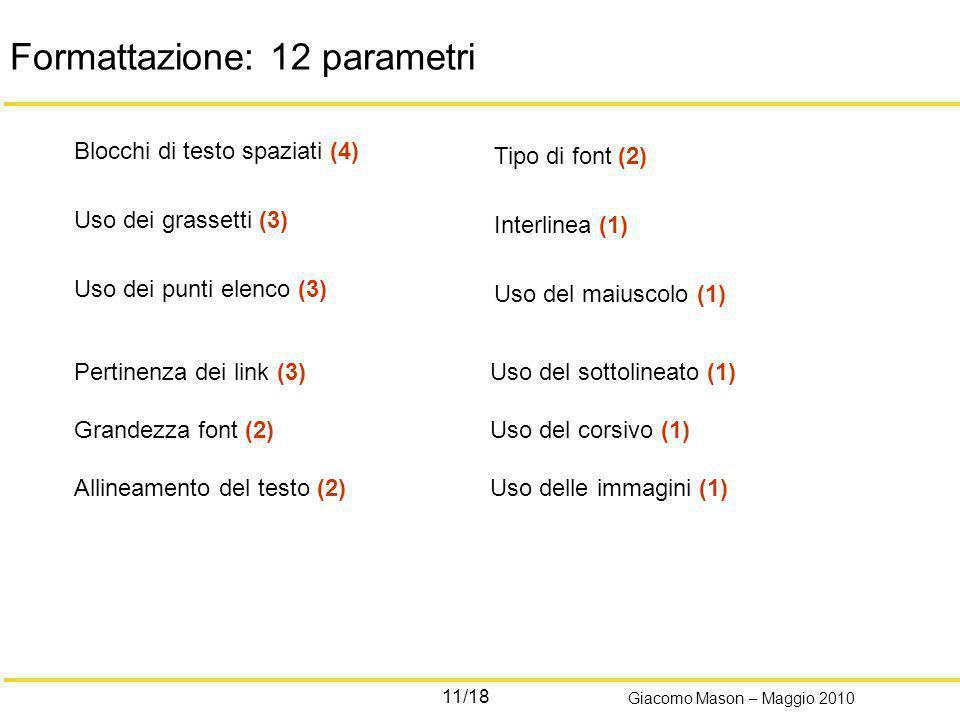 11/18 Giacomo Mason – Maggio 2010 Formattazione: 12 parametri Blocchi di testo spaziati (4) Uso dei grassetti (3) Uso dei punti elenco (3) Tipo di fon