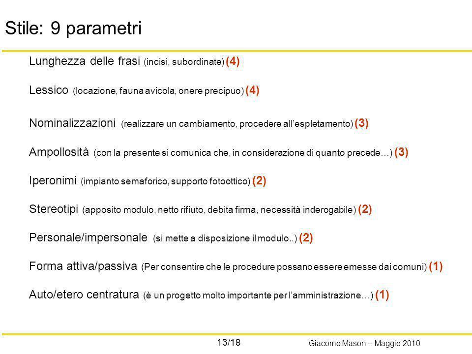 13/18 Giacomo Mason – Maggio 2010 Stile: 9 parametri Lunghezza delle frasi (incisi, subordinate) (4) Lessico (locazione, fauna avicola, onere precipuo