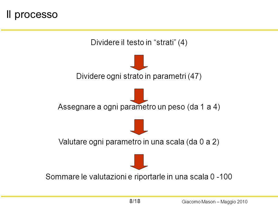 8/18 Giacomo Mason – Maggio 2010 Dividere il testo in strati (4) Dividere ogni strato in parametri (47) Assegnare a ogni parametro un peso (da 1 a 4)