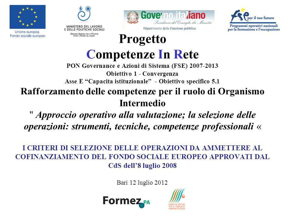 Progetto Competenze In Rete PON Governance e Azioni di Sistema (FSE) 2007-2013 Obiettivo 1 - Convergenza Asse E Capacita istituzionale - Obiettivo spe