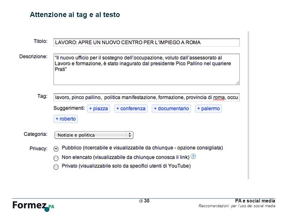 PA e social media Raccomandazioni per luso dei social media /100 di 30 Attenzione ai tag e al testo