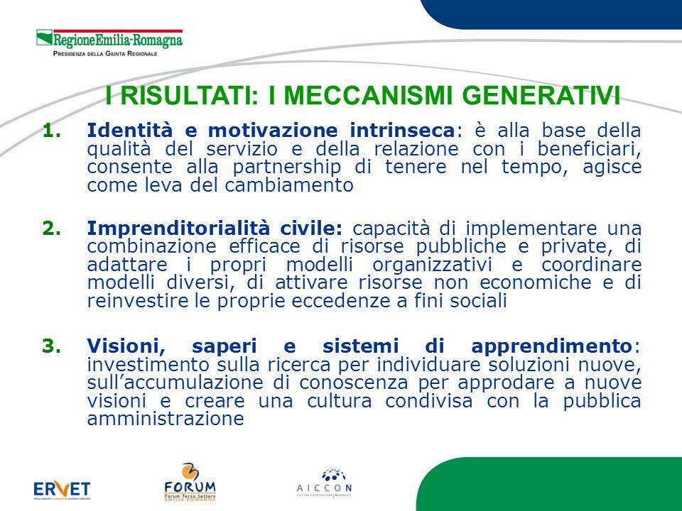 I RISULTATI: I MECCANISMI GENERATIVI 1.Identità e motivazione intrinseca: è alla base della qualità del servizio e della relazione con i beneficiari,