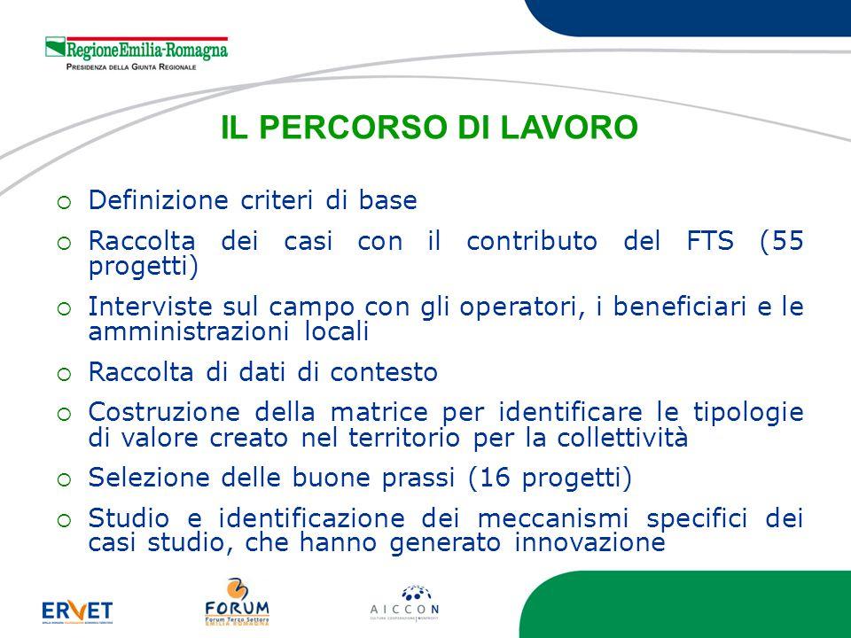 IL PERCORSO DI LAVORO Definizione criteri di base Raccolta dei casi con il contributo del FTS (55 progetti) Interviste sul campo con gli operatori, i