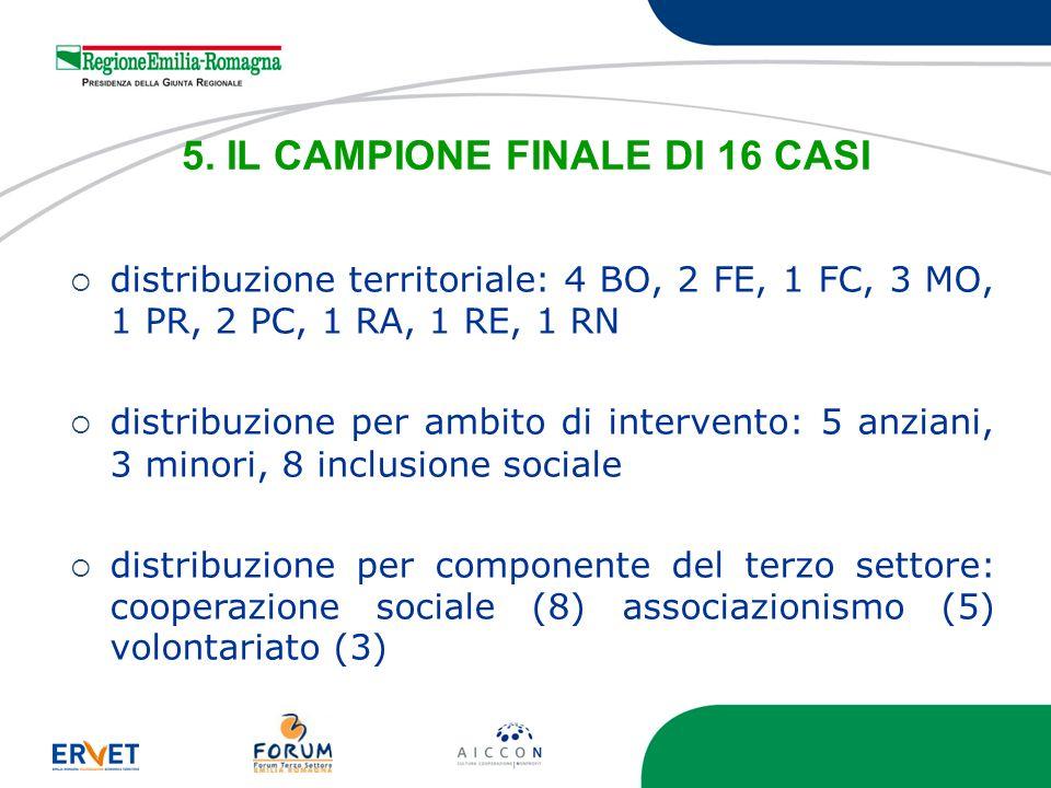 5. IL CAMPIONE FINALE DI 16 CASI distribuzione territoriale: 4 BO, 2 FE, 1 FC, 3 MO, 1 PR, 2 PC, 1 RA, 1 RE, 1 RN distribuzione per ambito di interven