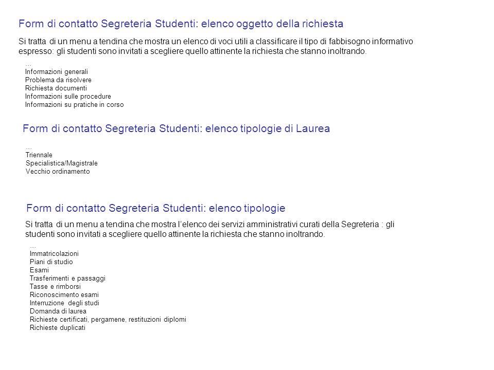 Form di contatto Segreteria Studenti: elenco oggetto della richiesta Form di contatto Segreteria Studenti: elenco tipologie … Immatricolazioni Piani d