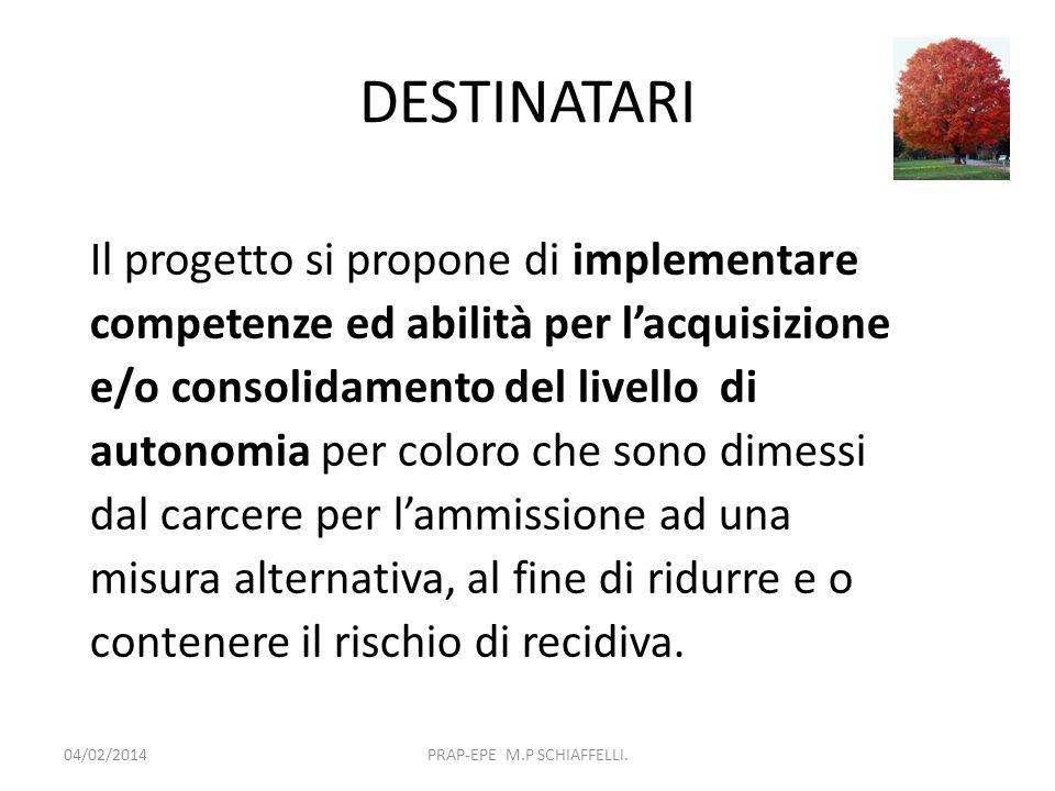 DESTINATARI 04/02/2014PRAP-EPE M.P SCHIAFFELLI. Il progetto si propone di implementare competenze ed abilità per lacquisizione e/o consolidamento del