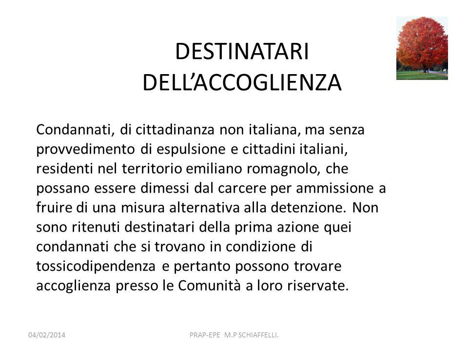 DESTINATARI DELLACCOGLIENZA 04/02/2014PRAP-EPE M.P SCHIAFFELLI. Condannati, di cittadinanza non italiana, ma senza provvedimento di espulsione e citta