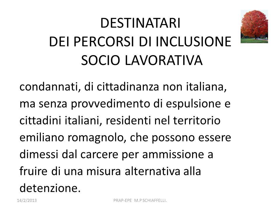 DESTINATARI DEI PERCORSI DI INCLUSIONE SOCIO LAVORATIVA 14/2/2013PRAP-EPE M.P SCHIAFFELLI. condannati, di cittadinanza non italiana, ma senza provvedi