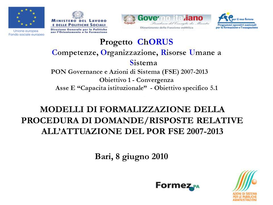 Progetto ChORUS Competenze, Organizzazione, Risorse Umane a Sistema PON Governance e Azioni di Sistema (FSE) 2007-2013 Obiettivo 1 - Convergenza Asse E Capacita istituzionale - Obiettivo specifico 5.1 MODELLI DI FORMALIZZAZIONE DELLA PROCEDURA DI DOMANDE/RISPOSTE RELATIVE ALLATTUAZIONE DEL POR FSE 2007-2013 Bari, 8 giugno 2010