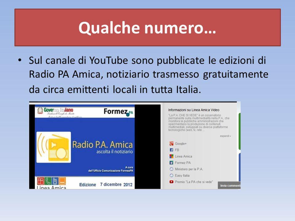 Sul canale di YouTube sono pubblicate le edizioni di Radio PA Amica, notiziario trasmesso gratuitamente da circa emittenti locali in tutta Italia.