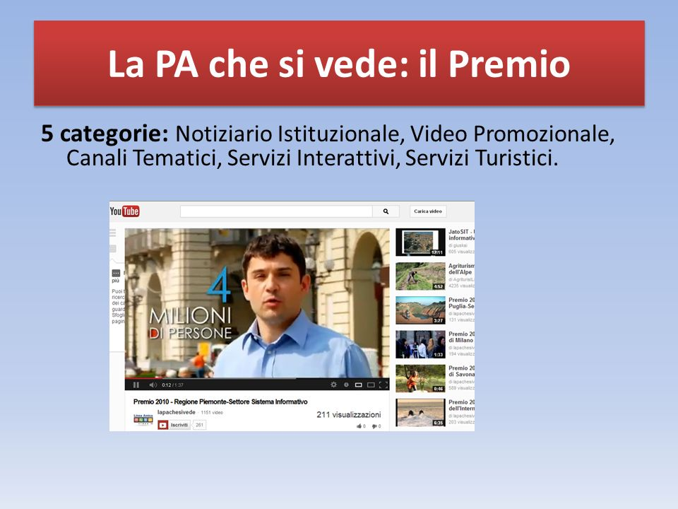 5 categorie: Notiziario Istituzionale, Video Promozionale, Canali Tematici, Servizi Interattivi, Servizi Turistici.