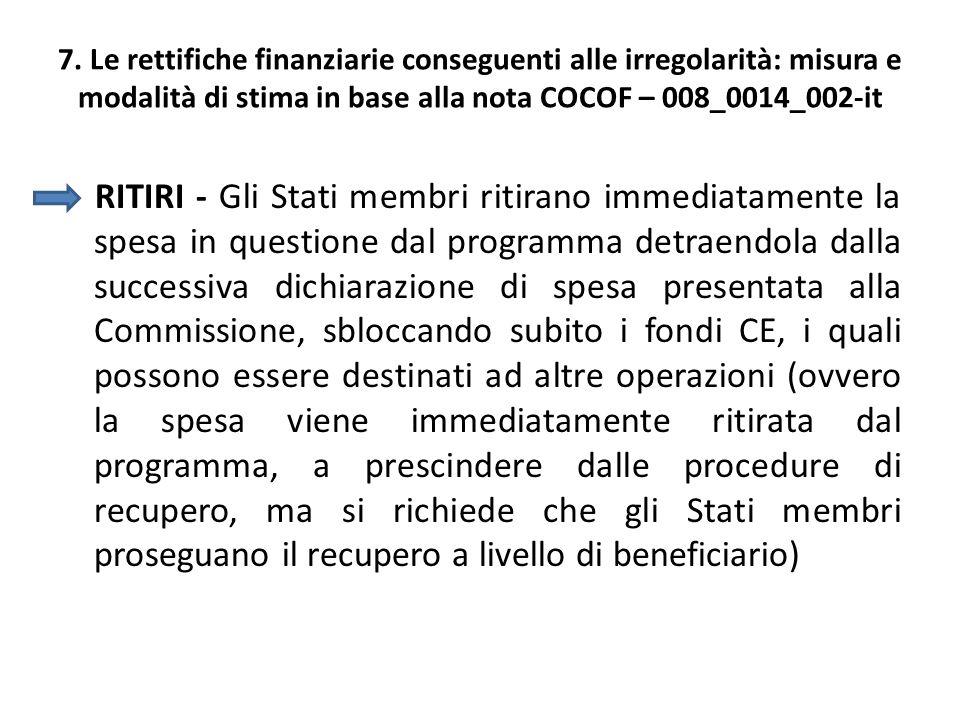 7. Le rettifiche finanziarie conseguenti alle irregolarità: misura e modalità di stima in base alla nota COCOF – 008_0014_002-it RITIRI - Gli Stati me