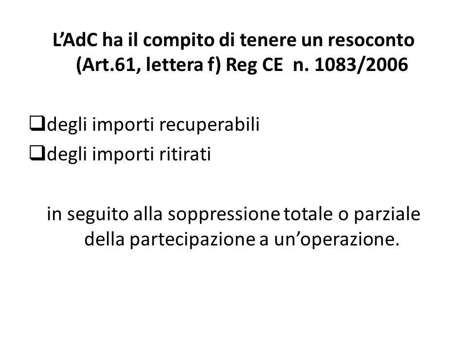 LAdC è tenuta a (Art.20 (2) Reg CE n.1828/2006): a) presentare entro il 31 marzo di ogni anno una dichiarazione che individui per ogni asse prioritario del PO: gli importi ritirati dalle dichiarazioni di spesa presentate nel corso dellanno precedente, gli importi recuperati e detratti dalle stesse dichiarazioni di spesa, gli importi che attendono di essere recuperati al termine dellanno precedente, elencati in base allanno in cui sono stati emessi gli ordini di riscossione.