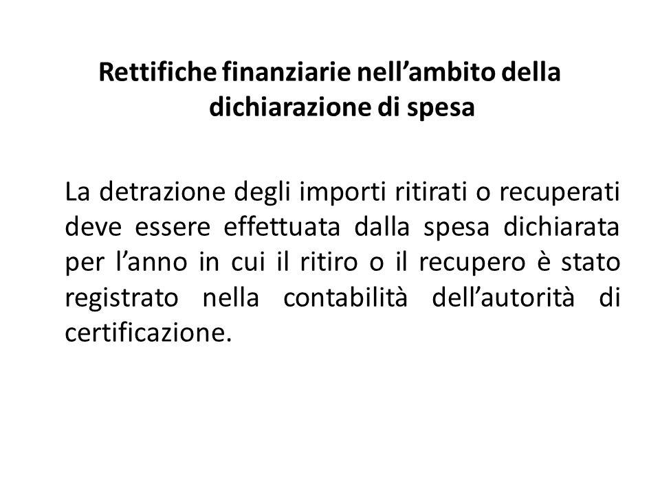 Rettifiche finanziarie nellambito della dichiarazione di spesa La detrazione degli importi ritirati o recuperati deve essere effettuata dalla spesa dichiarata per lanno in cui il ritiro o il recupero è stato registrato nella contabilità dellautorità di certificazione.
