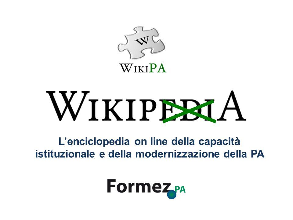 WikiPA WikiPA in pillole A cosa serve: Avere una visione sistematica del sapere della PA attraverso la definizione dei concetti più rilevanti Cosè: È una enciclopedia dei termini che caratterizzano il processo di cambiamento della PA