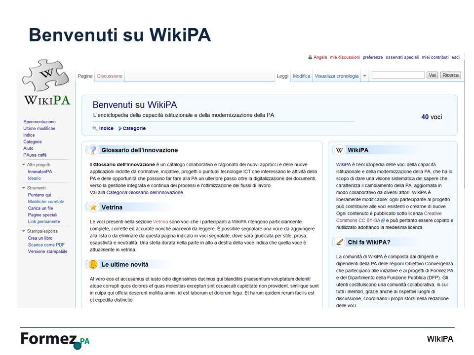 WikiPA Benvenuti su WikiPA