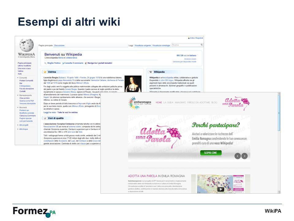 WikiPA Cronoprogramma Lancio WikiPA pubblico Lancio WikiPA riservato