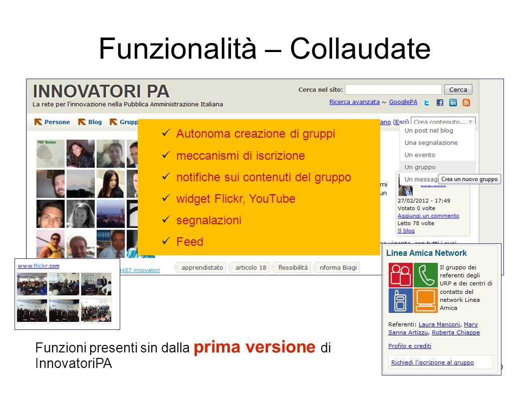 Funzionalità – Collaudate 10 Autonoma creazione di gruppi meccanismi di iscrizione notifiche sui contenuti del gruppo widget Flickr, YouTube segnalazi