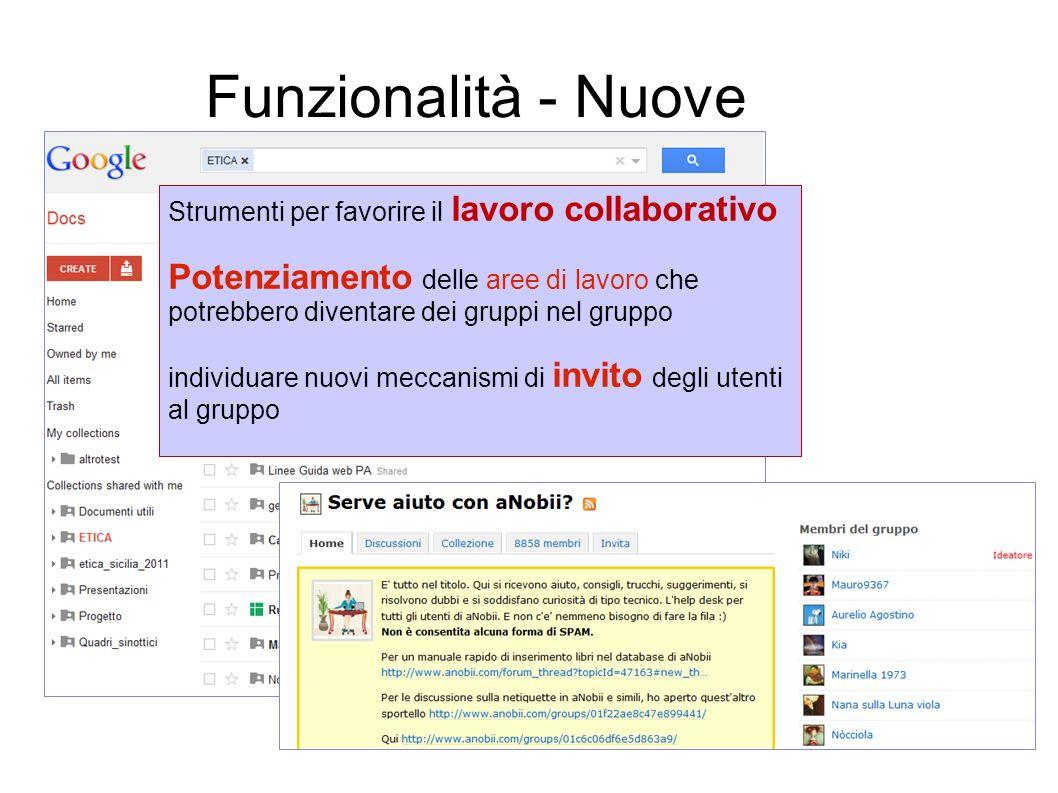12 Funzionalità - Nuove Strumenti per favorire il lavoro collaborativo Potenziamento delle aree di lavoro che potrebbero diventare dei gruppi nel grup