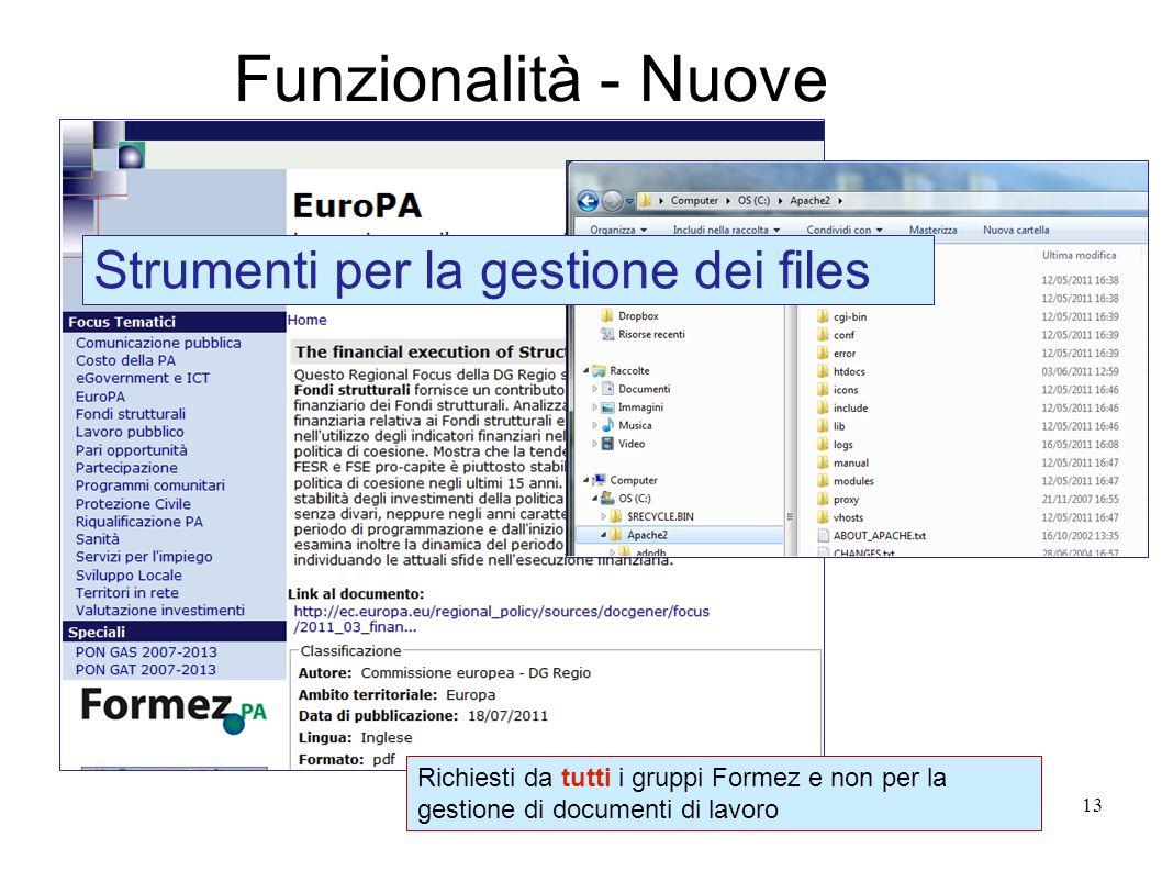 13 Funzionalità - Nuove Richiesti da tutti i gruppi Formez e non per la gestione di documenti di lavoro Strumenti per la gestione dei files